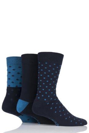 Mens 3 Pair Farah Cushioned Foot Spotty Socks Navy 6-11 Mens
