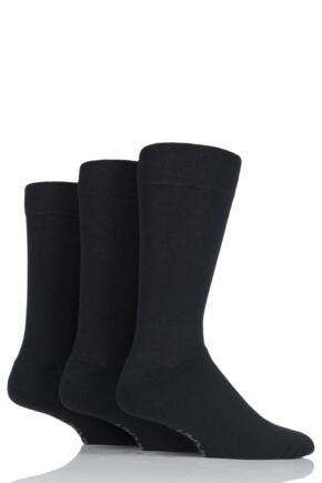 Mens 3 Pair Farah Cushioned Foot Plain Socks Black 6-11 Mens