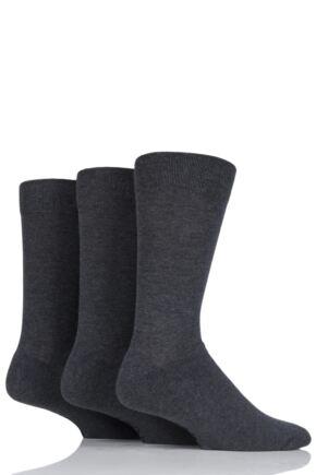 Mens 3 Pair Farah Cushioned Foot Plain Socks Charcoal 6-11 Mens