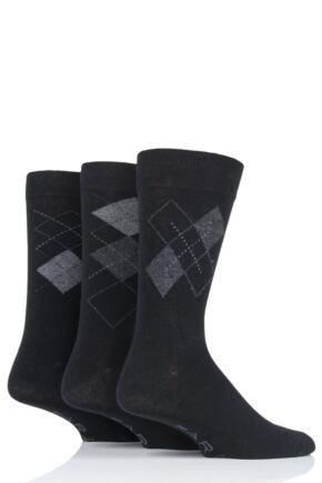 Mens 3 Pair Farah Classic Argyle Socks
