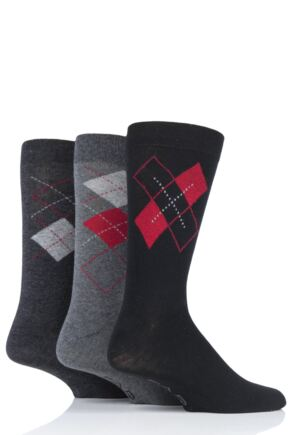 Mens 3 Pair Farah Classic Argyle Socks