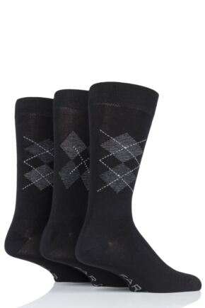 Mens 3 Pair Farah Luxury Bamboo Argyle Socks