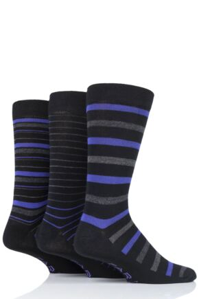 Mens 3 Pair Farah Luxury Bamboo Stripe Plain and Argyle Socks