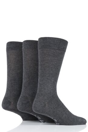 Mens 3 Pair Farah Luxury Bamboo Plain Socks