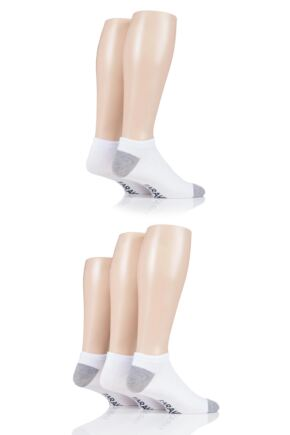 Mens 5 Pair Farah Contrast Heel and Toe Bamboo Trainer Socks White 6-11 Mens