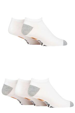 Mens 5 Pair Farah Bamboo Trainer Socks White 6-11 Mens