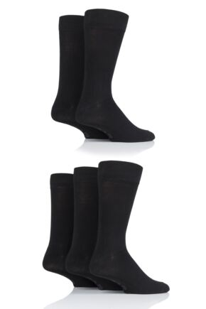 Mens 5 Pair Farah Classic Plain Bamboo Socks