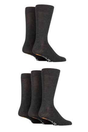Mens 5 Pair Farah Classic Plain Bamboo Socks Grey Marl  /  Charcoal Marl 6-11 Mens
