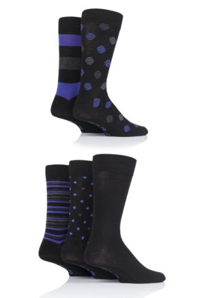 Mens 5 Pair Farah Classic Patterned Bamboo Socks