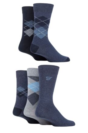 Mens 5 Pair Farah Patterned Striped and Argyle Cotton Socks
