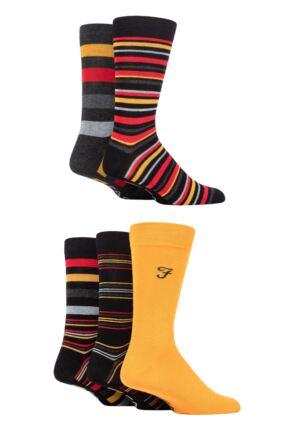 Mens 5 Pair Farah Bamboo Plain and Striped Socks