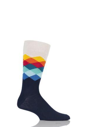 Mens and Ladies 1 Pair Happy Socks Faded Diamond Combed Cotton Socks