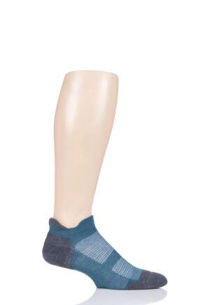 Mens and Ladies 1 Pair Feetures Elite Max Cushion No Show Socks Emerald M (5-7.5)