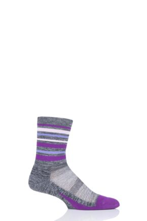 Mens and Ladies 1 Pair Feetures Elite Light Cushion Mini Crew Socks Stripes Violet M (5-7.5)