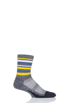 Mens and Ladies 1 Pair Feetures Elite Light Cushion Mini Crew Socks Stripes Yellow L (8-11)