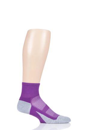 Mens and Ladies 1 Pair Feetures Elite Light Cushion Quarter Socks Ruby S (2-4.5)