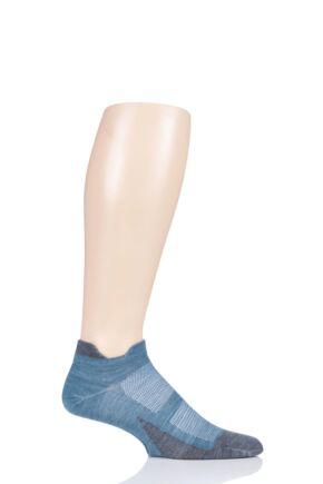Mens and Ladies 1 Pair Feetures Merino 10 Light No Show Socks Emerald M (5-7.5)