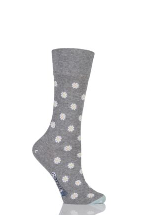 Ladies 1 Pair Corgi Fine Gauge Cotton Daisy Patterned Socks Light Grey 4-8