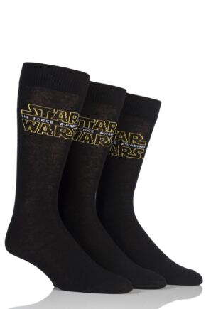 Mens 3 Pair SockShop Star Wars Logo Plain Socks Black 6-11 Mens