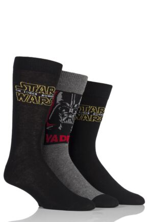 Mens 3 Pair SockShop Star Wars Logo and Darth Vader Socks Black 6-11 Mens