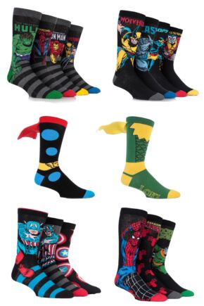 Mens 16 Pair Marvel Avengers Assemble Fresh Sock Drawer Collection Socks - Save £10