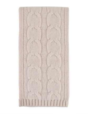 Ladies Great and British Knitwear 100% Lambswool Chunky Cable Knit Scarf. Made in Scotland