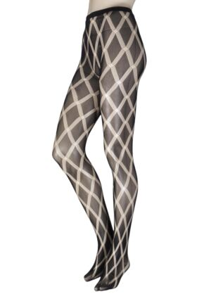 Ladies 1 Pair Elle Patterned Fishnet Tights