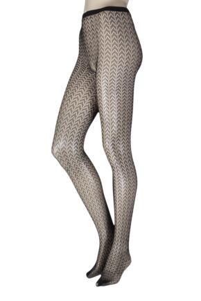 6b1ef79f7ae Ladies 1 Pair Elle Patterned Fishnet Tights