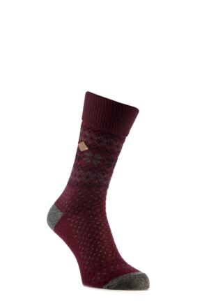 Mens 1 Pair Farah 1920 Wool Mix Fairisle Boot Socks with Turn Over Top Deep Red / Slate