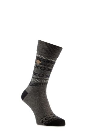 Mens 1 Pair Farah 1920 Wool Mix Fairisle Boot Socks with Turn Over Top Slate / Black