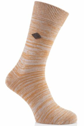 Mens 1 Pair Farah 1920 Degraded Look Cotton Socks 75% OFF Golden Ochra 6-11