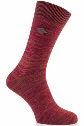 Mens 1 Pair Farah 1920 Degraded Look Cotton Socks 50% OFF Red Chilli 6-11