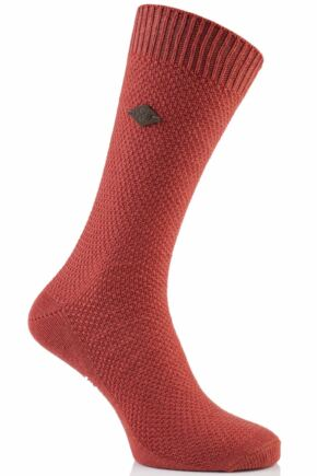 Mens 1 Pair Farah 1920 Waffle Design Cotton Socks 50% OFF Pumpkin 6-11