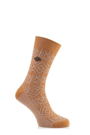 Mens 1 Pair Farah 1920 Squares and Diamonds Cotton Socks 50% OFF Golden Ochra / Sand 6-11