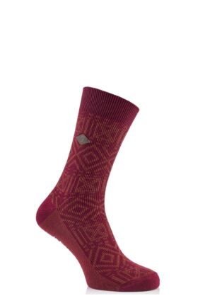 Mens 1 Pair Farah 1920 Squares and Diamonds Cotton Socks 50% OFF Red Chilli / Apricot 6-11