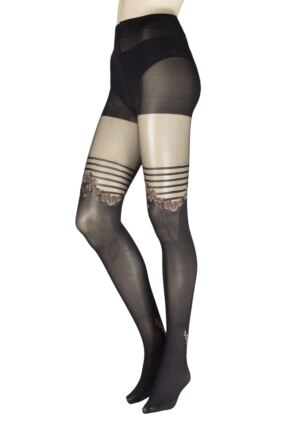 Ladies 1 Pair Trasparenze Folletto Mock Hold Up Tights