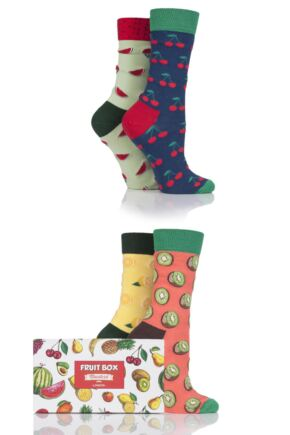Ladies 4 Pair Moustard Fruit Design Socks In Gift Box