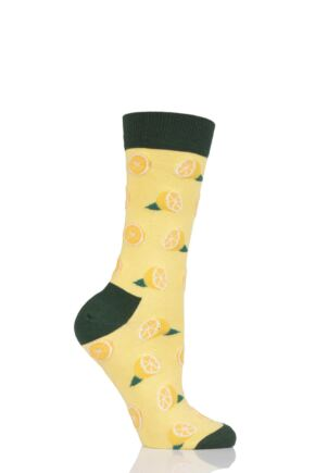 Ladies 1 Pair Moustard Fruit Design Socks - Lemon