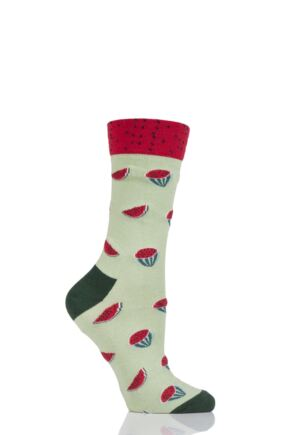 Ladies 1 Pair Moustard Fruit Design Socks - Watermelon Green 3-6.5
