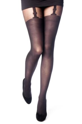 Ladies 1 Pair Elle Suspender Band Sheer and Opaque Tights