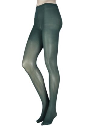 Ladies 1 Pair Elle 40 Denier Opaque Tights Bottle Green Large