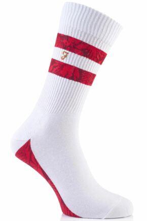 Mens 1 Pair Farah Vintage Jacquard Cotton Sports Socks White / Chilli 6-11