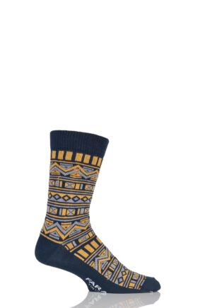 Mens 1 Pair Farah Vintage Tribal Patterned Cotton Socks