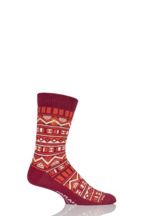 Men 1 Pair Farah Vintage Tribal Patterned Cotton Socks Sunshine / Chilli Red 6-11