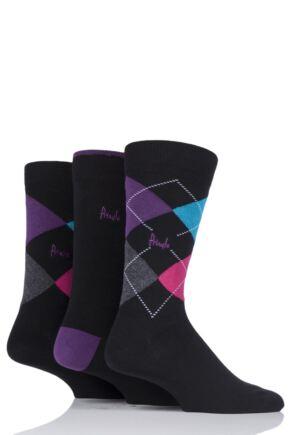 Mens 3 Pair Pringle Waverley Argyle and Plain Gift Boxed Socks