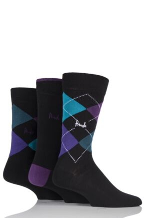 Mens 3 Pair Pringle Waverley Argyle and Plain Cotton Socks In Classic Gift Box Black / Purple 7-11 Mens