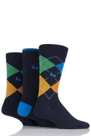 Mens 3 Pair Pringle Waverley Argyle and Plain Gift Boxed Socks