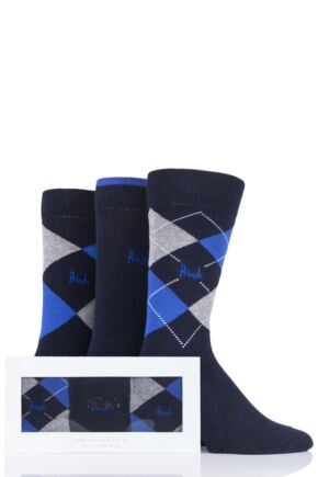 Mens 3 Pair Pringle Argyle and Plain Gift Boxed Cotton Socks