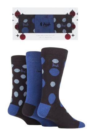 Mens 3 Pair Pringle Classic Spot and Plain Gift Boxed Socks