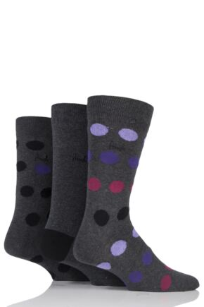 Mens 3 Pair Pringle Gift Boxed Large Spot and Plain Cotton Socks